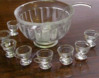 Dollhouse, Punch Bowl and Cups, Clear Plastic, Miniature, Hobby, Old Stock, 1:12 Scale, 18 pieces