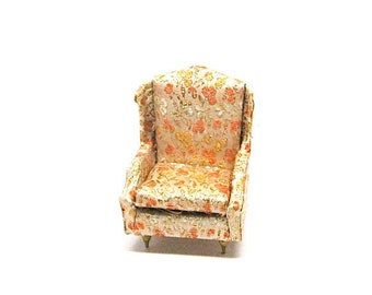 Dollhouse Furniture, Salon Wing Chair, Gold Brocade, 4410-7, 200, Vintage, Ideal, Petite Princess, c1964