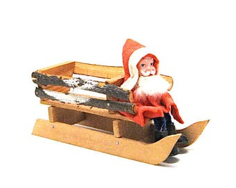 Vintage Clay Faced Santa Sleigh, Wood Sleigh, German,  Kris Kringle, 7 Inch Long, 1960