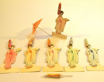 Place Cards, 6 Vintage Geisha Place Cards Paper Umbrellas Ephemera Grouping 2