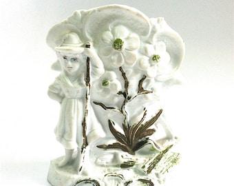 German Bisque, Fairing, Vase, Dogwood, Girl with Walking Stick, Antique