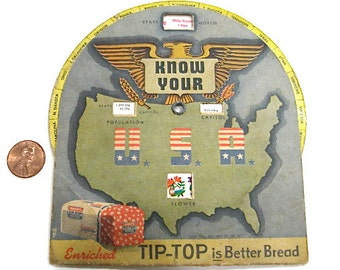 Vintage Advertising Wards Tip Top Bread State Facts c1944