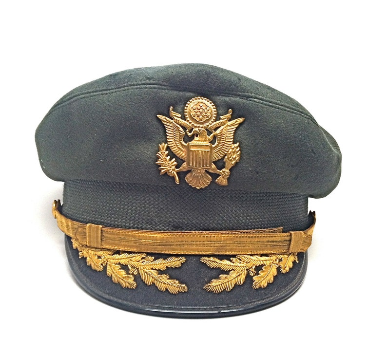 Military Air Force Flight Ace Officers Dress Hat Vintage 1950