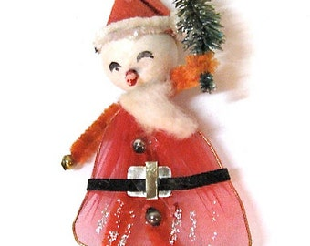 Vintage Santa Claus Ornament Pipe Cleaner Foil Japan1950
