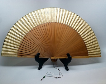 Asian Bamboo Fan, Mid Century Modern, In Box, 1945