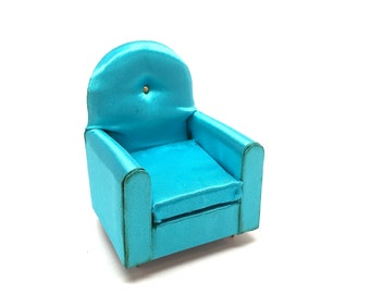 Doll House Miniature Guest Chair, Petite Princess, Ideal Toy Co., 1:12 Scale, 4409-9 150, Turquoise, Retro, 1964