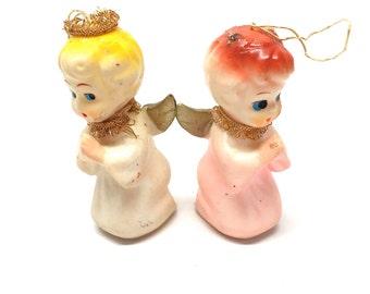 Vintage Angel Christmas Ornaments, Plastic, Japan, 1960