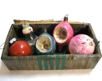 Vintage Blown Glass Ornaments in Old Trunk Drawer 1930
