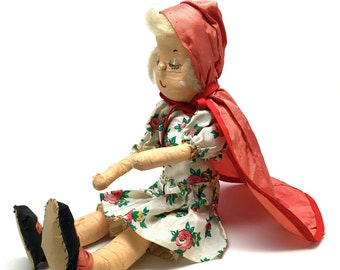 Vintage Handmade Doll, Red Riding Hood, Swiss, Scandinavian, Paper Mache, Composition, Rag Doll, c1940