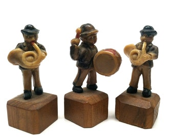 Miniature Celluloid Band, Drummer, French Horn, Trio, Japan, c1940