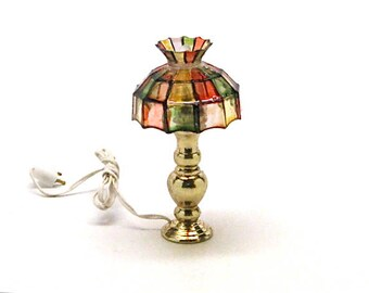 Dollhouse Lamp, Electric, Tiffany Style, Brass, Stained Glass, New Old Stock, Miniature, Table lamp