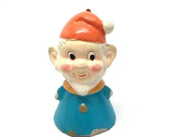 Vintage Elf Christmas Ornament, Gnome,Composition, Paper Mache, Japan, 1960