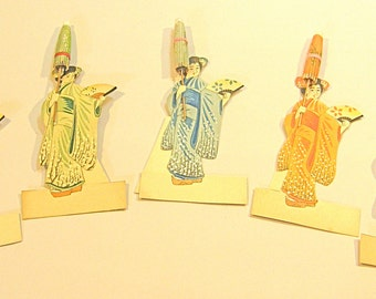 Place Cards, 5 Vintage Geisha Place Cards Paper Umbrellas Ephemera 3