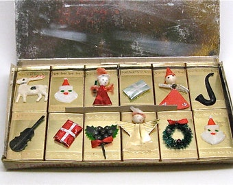 Vintage Christmas Matchbox Set, 12 Foil Boxes, Individual Decorated with Gay 3-D Holiday Ornaments, Boxed, Unused, 1950