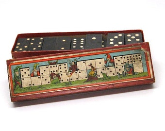 Vintage Dominoes German Box Gnomes Pixie Elves c1930