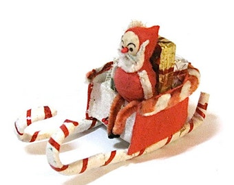 Vintage Santa Sled Mica Pipe Cleaner Japan Kitsch