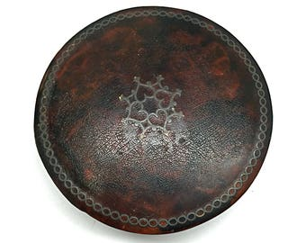 Snuff Box, Paper Mache, Lacquer, Faux Tortoise Shell, Sterling Inlay, Antique, Round, Lidded, c1880, England, Downton Abby Style
