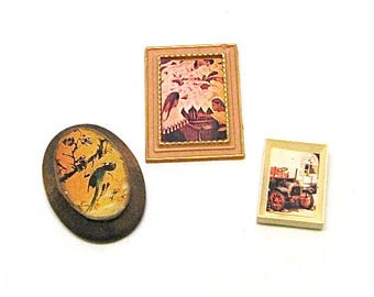 Dollhouse Miniature Framed Art, Pictures ,Wall Decor, Home Dec, Mid Century, Lundby, 1:12 Scale, c1960, 3 pc.