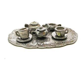 Dollhouse Childs Tea Set, Silver, Miniature, Kitchen, Serving, Tea Time, Childs Room, Metal, 1:12 Scale, NOS