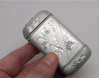 Antique Engraved Aluminum Match Strike Safe c1910
