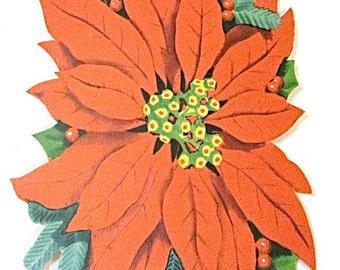 Vintage Christmas Poinsettia Wall Window Hanging Dye Cut 1950