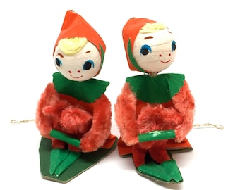 Vintage Spun Cotton Ornaments, Elf, Pixie, Knee Huggers, Bunny Ear, Chenille, Flocked Paper, 1950, Japan