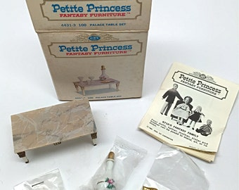 Dollhouse Furniture, Palace Table Set, 4431-3 100, Vintage, Ideal, Petite Princess, Boxed, c1964
