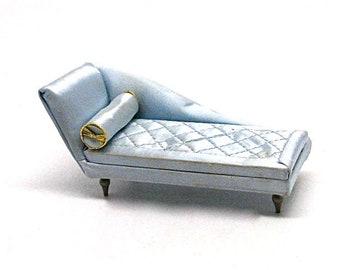 Doll House Miniature Boudoir Chaise Longue, Petite Princess, Ideal Toy Co., Fainting Couch, 1:12 Scale, 4408-1 200, Satin, Blue, Retro, 1964