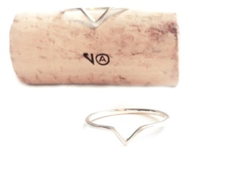 Geometric Small V Sterling Silver Stacking Ring
