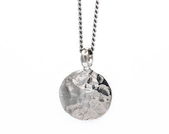 Hammered Silver Circle Charm Necklace