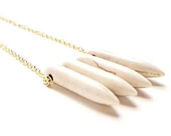 Howlite Spike Necklace <SALE>