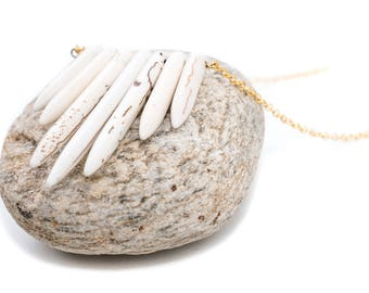 Howlite 7 Stone Long Spike Necklace