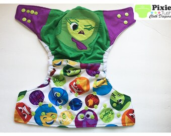 Inside out, Disgust One Size Pocket Diaper, Cloth Diaper (Photoshoot or Daily Use)