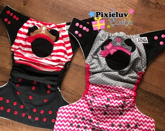 Pirate Mickey and Minnie Mouse One Size Cloth Diaper, Pocket Diaper with Detachable Bow (Photoshoot or Daily Use) MADE TO ORDER