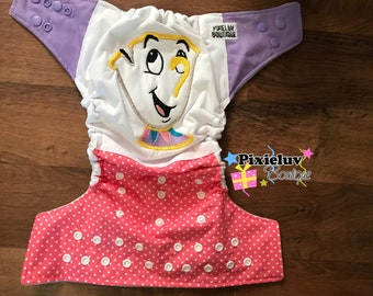 Beauty and the Beast Chip Tea Cup One Size Cloth Diaper, Pocket Diaper (Daily Use or Photoshoot)