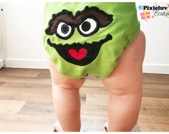 Oscar The Grouch One Size Cloth Diaper, Pocket Diaper (Photoshoot) MADE TO ORDER