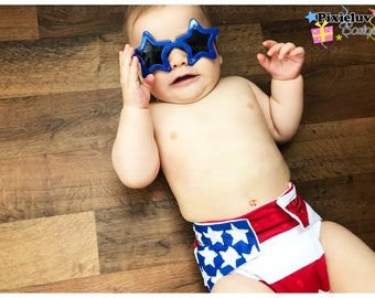 AMERICAN Flag Inspired Patriotic Red, White, and Blue One Size Cloth Diaper, Pocket Diaper (Photoshoot) made to order