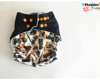 SALE! Construction Themed  One Size Pocket  Diaper (Cloth Diaper)
