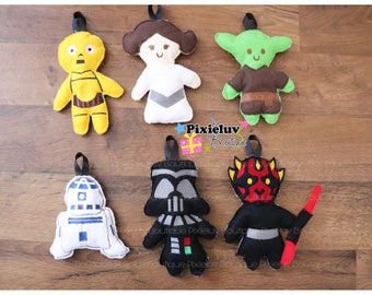 Star Wars Felt Christmas Ornaments - Princess Leia, Darth Vader, Yoda, Darth Maul, C3P0, R2D2 (MADE TO ORDER)