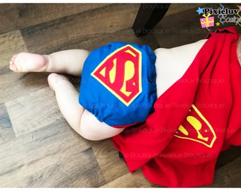 Superman One Size Pocket Diaper, Cloth Diaper (Photoshoot) MADE TO ORDER