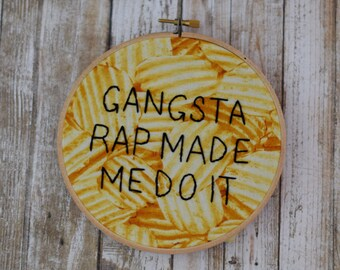 Ice Cube, Gangsta Rap Made Me Do It, rap embroidery, hip hop embroidery, wall decor, living room decor, living room art, funny embroidery