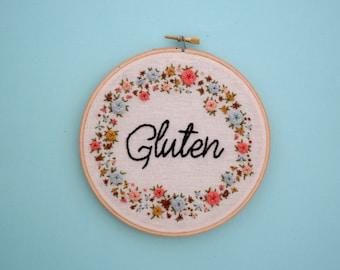 Gluten, Gluten Love, I Love Gluten, Gluten Jokes, Dad Jokes, Pun, Punny, Embroidery, Wall Art, Embroidery Decor, Floral Wreath, Celiac, Puns