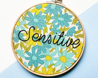 Sensitive, thoughtful as hell, polite as fuck, mean embroidery, funny embroidery, antisocial, juxtaposition, passive aggressive gift