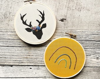 Floral Embroidery, Rainbow, Deer Embroidery, Embroidery Decor, Nursery Decor, Baby Room, Deer, Needlepoint, Gray, Grey, Baby Shower
