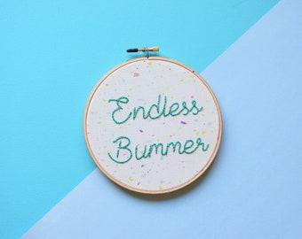 Endless Bummer, Endless Summer, Beach Boys, Misanthropist, Sad Girl,Sad Boy,Confetti Fabric,Good Vibrations,subversive embroidery,home decor