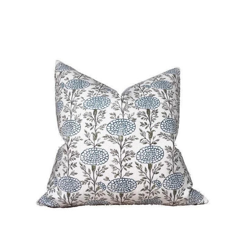 Samode Pillow Cover in Indigo Blue Designer Pillows Home - Lisa Fine Textiles fabric