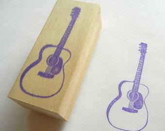 Musical Instrument Rubber Stamp Steel String Guitar