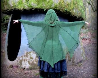 Fantasy Cloak w/ Hood, Renaissance Festival Clothing, Elven Cloak in green or black, fantasy cape, hooded cloak, Woodland Witch, cosplay