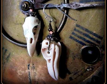 Raven Bird Skull Earrings ~ Taxidermy Jewelry Witchy Occult Viking Halloween Samhain Lagertha ~ Like real skull but carved of strong antler