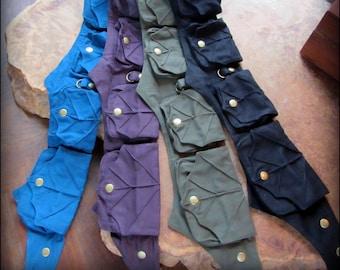 Utility belt bag w/ Forest Fairy Fantasy Leaf belt, vegan canvas festival belt blue, purple, green, black cotton fabric,  Elven LARP Cosplay